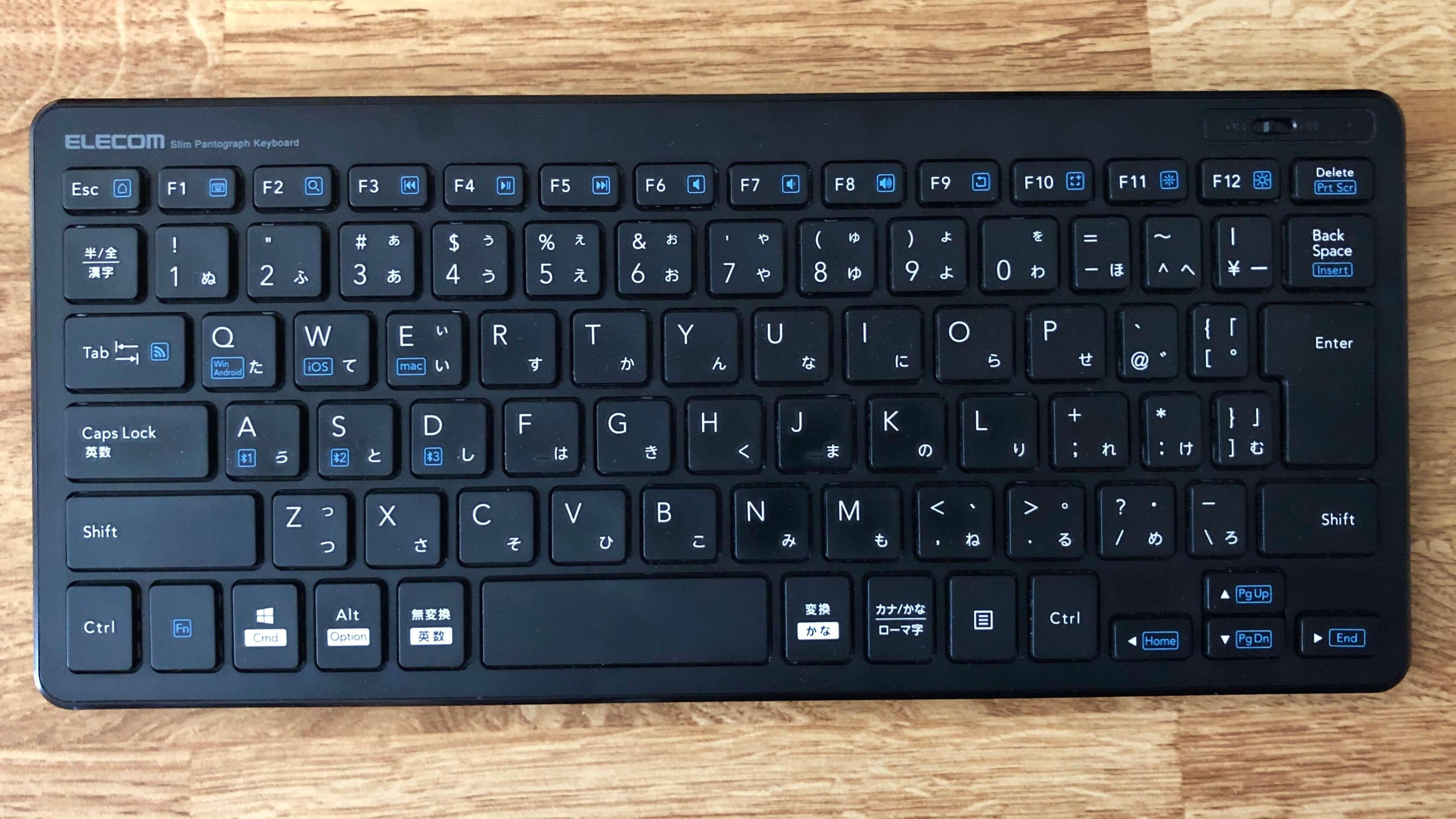エレコム Bluetoothキーボード:TK-FBP100のキー配列
