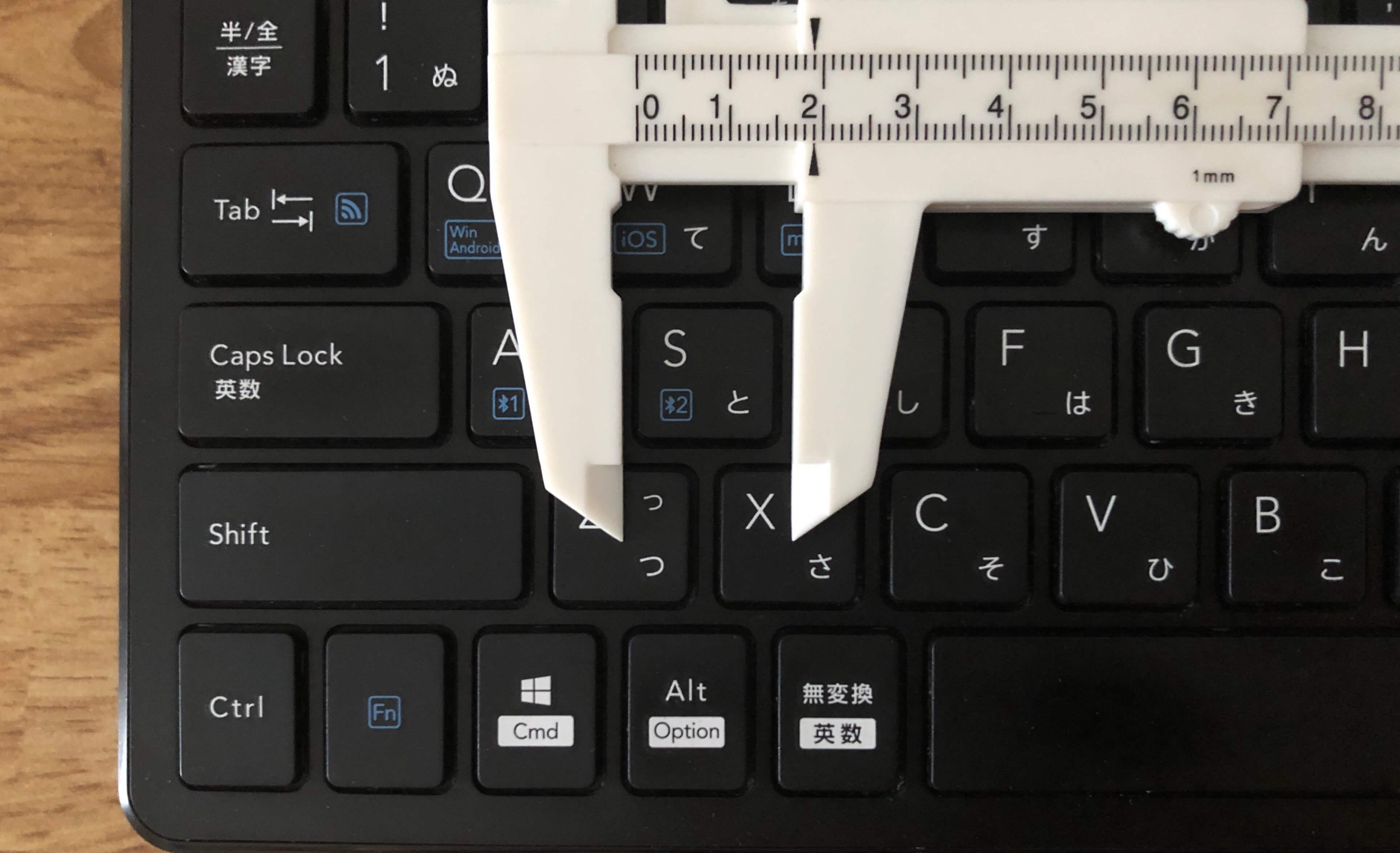 エレコムBluetoothキーボードTK-FBP100のキーピッチ