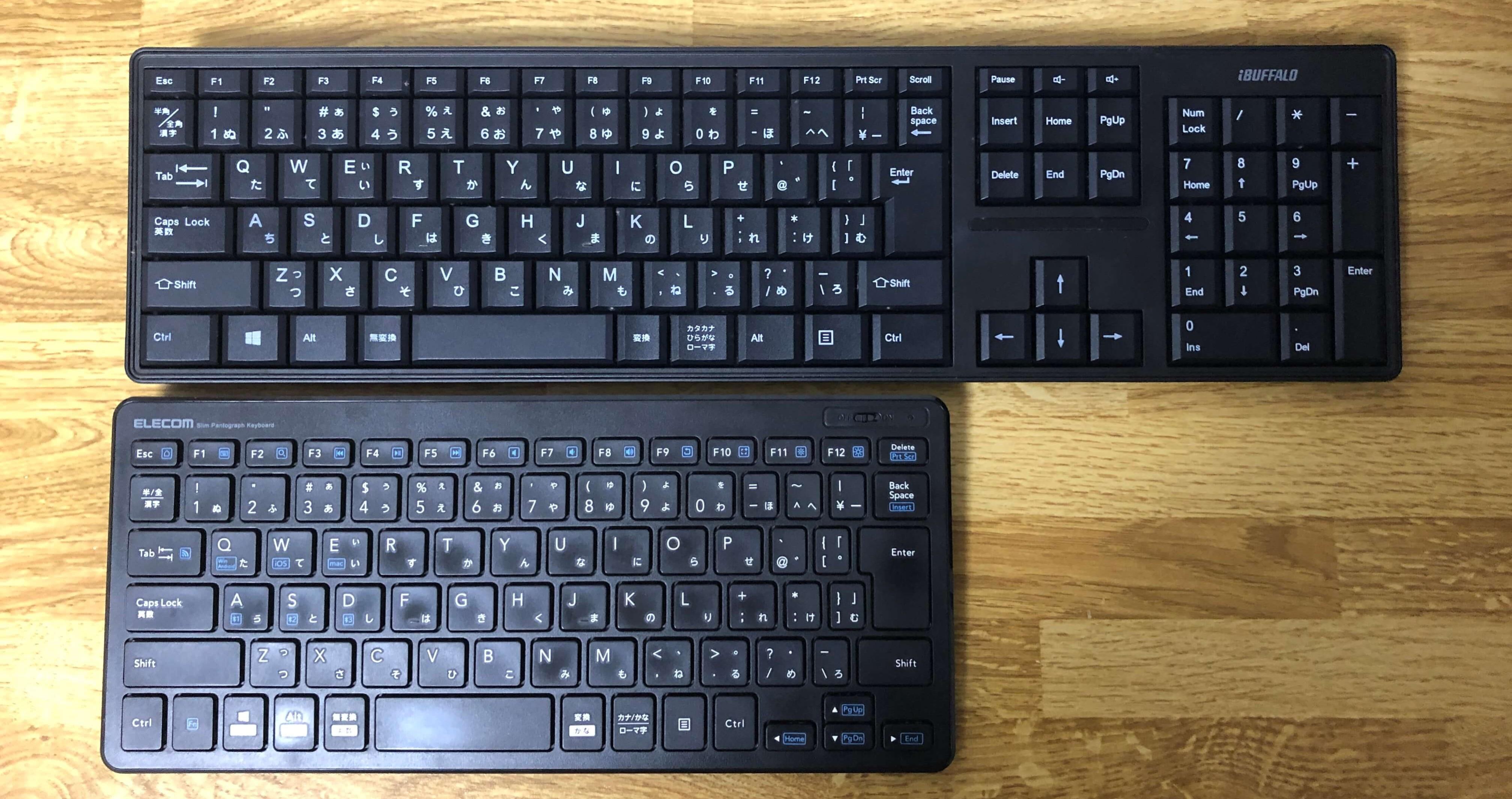エレコムTK-FBP100 Bluetoothキーボードの大きさ