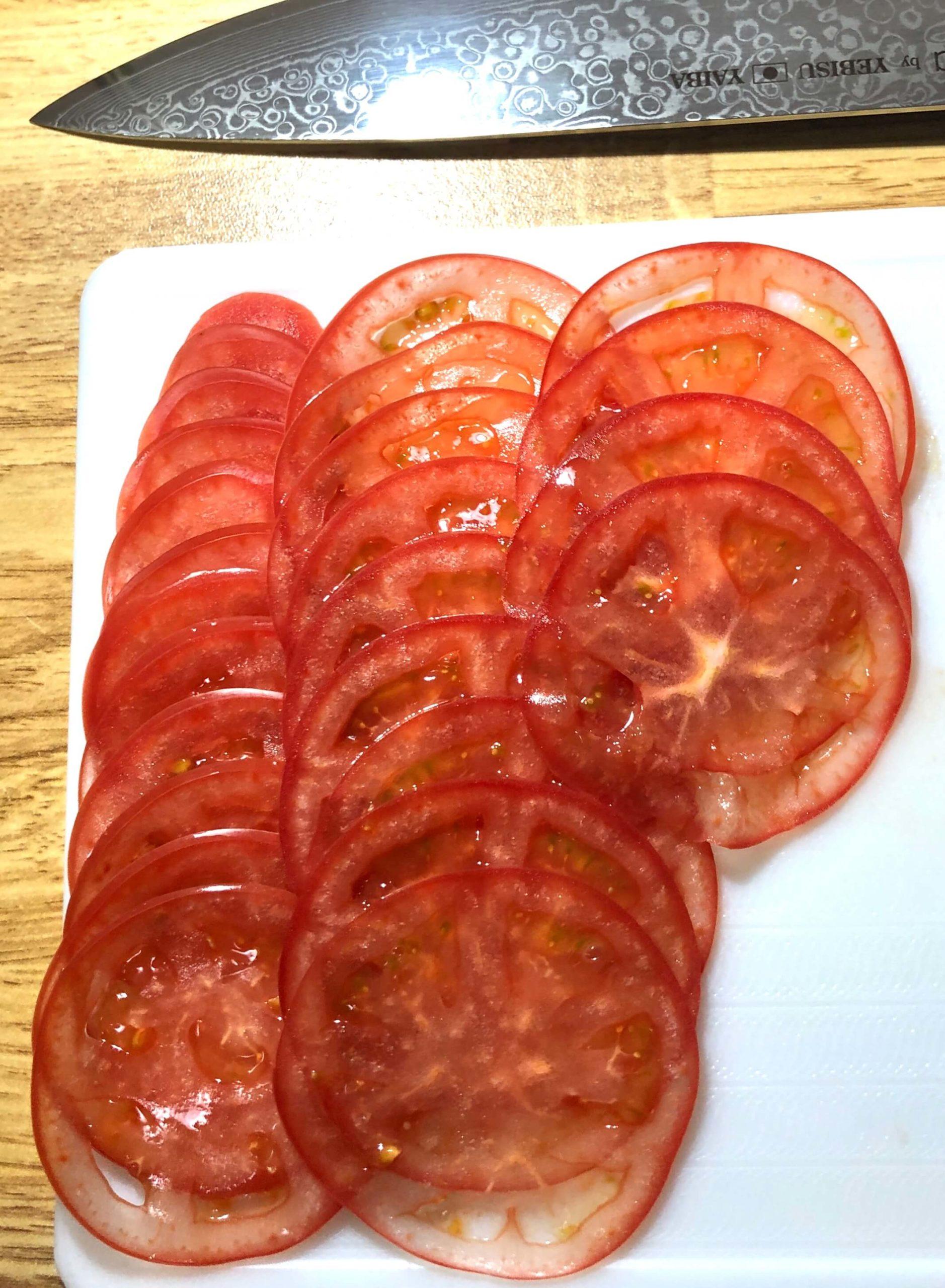 恵比寿刃hana牛刀包丁でトマトを薄切り!